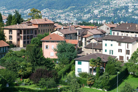 collina: Houses at the old village of Certenago over Lugano on the italian part of Switzerland Stock Photo
