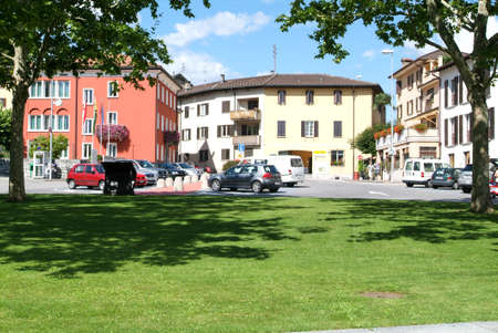 collina: Central square at the village of Montagnola on the italian part of Switzerland Editorial