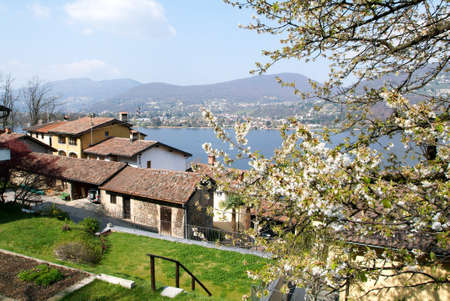 collina: Houses at the village of Pianroncate on lake Lugano in the italian part of Switzerland Stock Photo