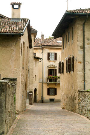 collina: Houses at the old village of Gentilino on the italian part of Switzerland Stock Photo