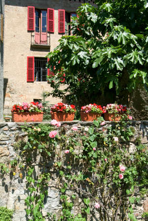collina: House at the old village of Gentilino on the italian part of Switzerland Stock Photo