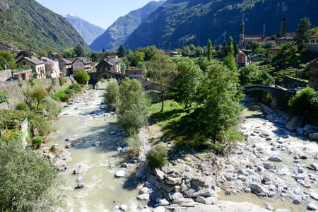 mountin: River Ticino at Giornico on Leventina valley on the Swiss alps Stock Photo