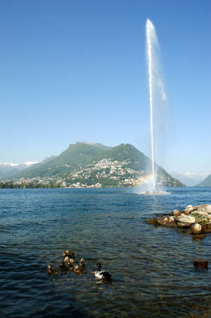 water jet: The water jet on the bay of Lugano, Switzerland