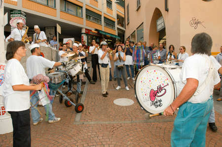 fasnacht: Lugano, Switzerland - 4 october 2002: People performing Gugge Music at the carnival of Lugano on the italian part of Switzerland Editorial