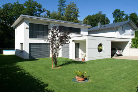 architectural exterior: Arasio, Switzerland - 4 July 2007: modern house Editorial