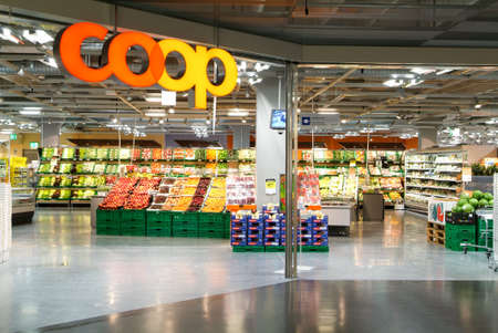 Lugano, Switzerland - 2 July 2010: interior of Coop supermarket store on the mall of Lugano on Switzerland Editorial