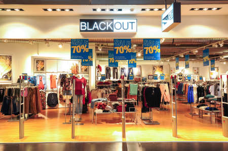 black out: Lugano, Switzerland - 17 july 2014: interior of Black Out fashion clothes store on the mall of Lugano on Switzerland