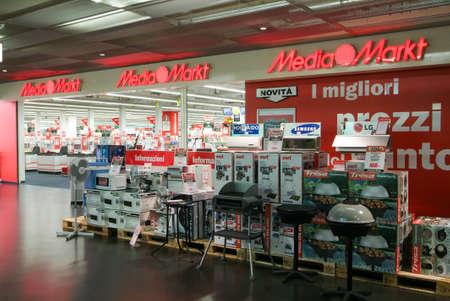 electronic store: Lugano, Switzerland - 2 July 2010: Media Markt electronic store on the mall of Lugano on Switzerland