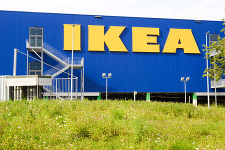 retailer: Rothenburg, Switzerland - 23 july 2014: IKEA billboard in front of their own appliances retailer. Editorial