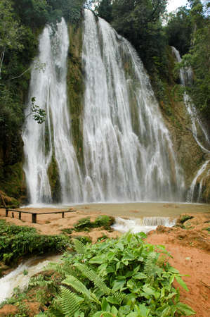 republic dominican: El limon waterfall, Samana peninsula, Dominican republic Stock Photo