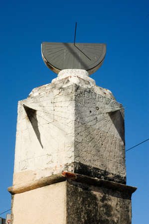 different way: Different way to tell the time Sundial built in 1753 in Santo Domingo Dominican Republic and still standing