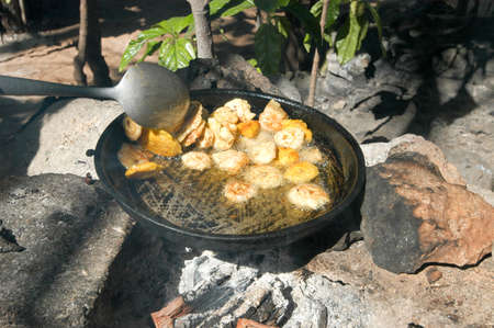 dominican: Platones are fried bananas a speciality of Dominican Republic food Stock Photo
