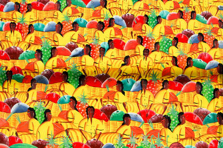 Traditional painting from Dominican Republic on a market Stock Photo