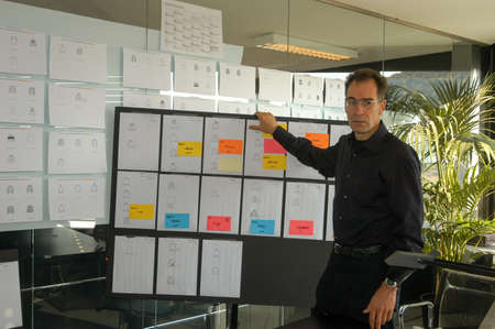 hugo: Coldrerio, Switzerland - 21 october 2002: Businessman giving a presentation on white board at Hugo Boss industry at Coldrerio on the italian part of Switzerland
