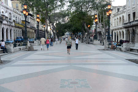 paseo: La Habana, Cuba - 6 january 2016: people walking at the famous street of Paseo del Prado in Old Havana Editorial