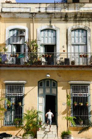 vieja: Havana, Cuba - 7 January 2016: old house  at the neighborhood of Habana Vieja in Havana on Cuba