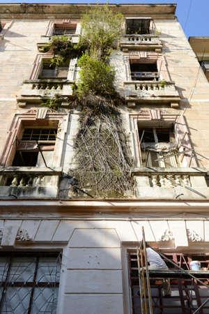 vieja: man restoring a old house at the neighborhood of Habana Vieja in Havana on Cuba
