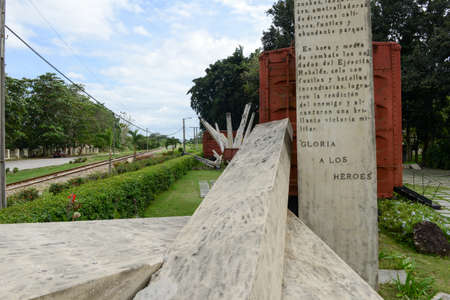 guerilla: Santa Clara, Cuba - 17 january 2016: Memorial of train packed with government soldiers captured by Che Guevaras forces during the revolution of Cuba
