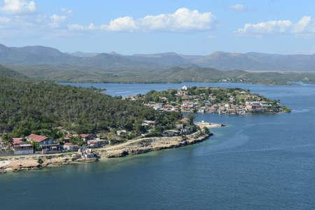cuba: Coast of Santiago de Cuba with entrance to the harbor and coastal highway