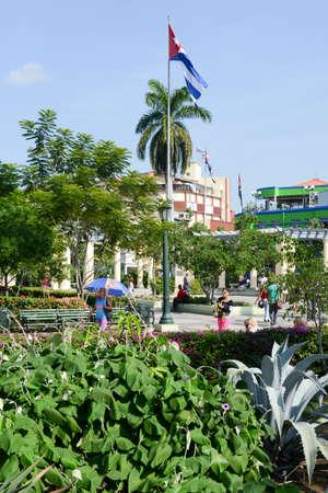marte: Santiago de Cuba, Cuba - 13 january 2016: Marte square at Santiago de Cuba, Cuba Editorial