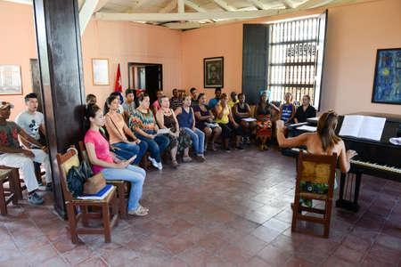 choral: Santiago de Cuba, Cuba - 13 january 2016: people singing on a choral at Santiago de Cuba, Cuba