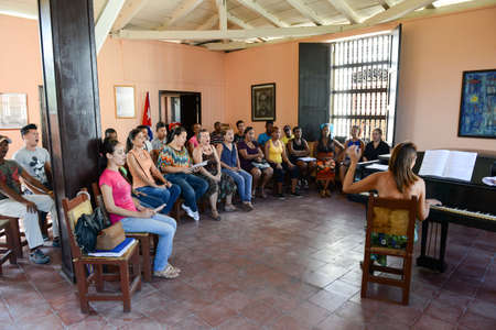 chorale: Santiago de Cuba, Cuba - 13 january 2016: people singing on a choral at Santiago de Cuba, Cuba