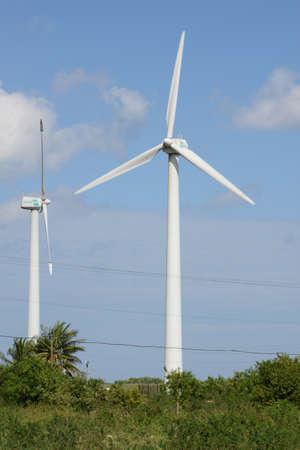 san rafael: Green meadow with Wind turbines generating electricity at San Rafael on Cuba