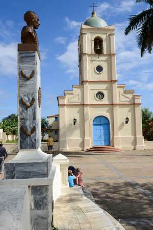 pinar: Vinales, Cuba . 25 january 2016: people speaking on sitting on benches at Vinales, a small town and municipality in the north central Pinar del Rio Province of Cuba