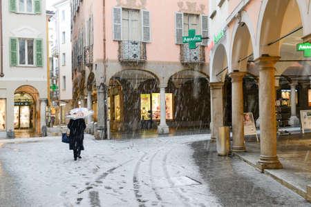 Lugano, Swizerland - 5 march 2016:  via Pessina is the main pedestrian street of Lugano on Switzerland.
