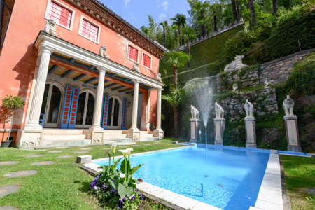 Morcote, Switzerland - 13 april 2016: Scherrer Park on Morcote, Switzerland. Called The Garden of Wonders. a rich collection of art objects from different countries and different eras Editorial