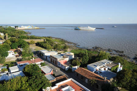 colonia del sacramento: Colonia del Sacramento, Uruguay - 13 february 2011: View from the lighthouse of historic neighborhood in Colonia del Sacramento on Uruguay to the port