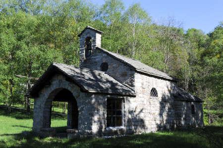 lago: Gola di Lago, Switzerland - 15 may 2016: rural church of Gola di Lago on the italian part of Switzerland Stock Photo