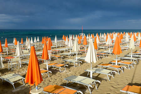 Torre Canne, Italy - 22 June 2016: Storm is about to fall on the beach of Torre Canne on Puglia, Italy
