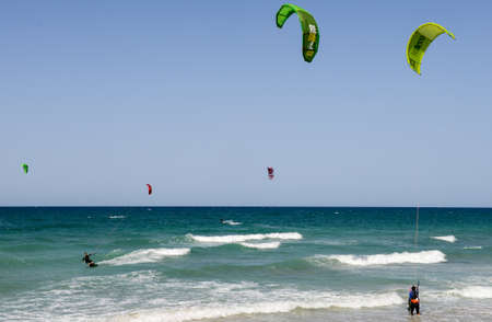 kitesurf: Torre Canne, Italy - 22 June 2016: People practicing kitesurf on the beach of Torre Canne on Puglia, Italy Editorial