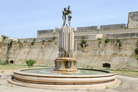 Fountain of Harmony in front of Castle of Charles V in Lecce on Puglia, Italy