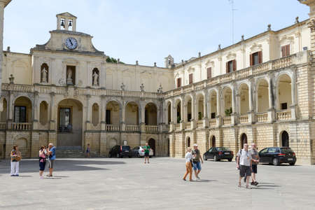 episcopal: Lecce, Italy - 23 June 2016: Episcopal palace on Duomo square in Lecce, Italy