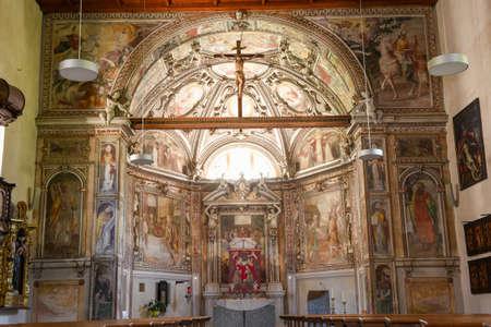 Interior of Saint Martino church at Malvaglia on the Swiss alps