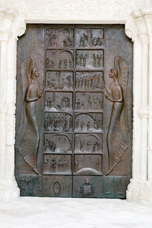 monte sant angelo: Entrance door of St Michael basilica at Monte SantAngelo on Puglia, Italy