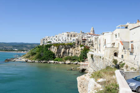 Vieste, Italy - 29 June 2016: View at the coast of Vieste on Puglia, Italy.