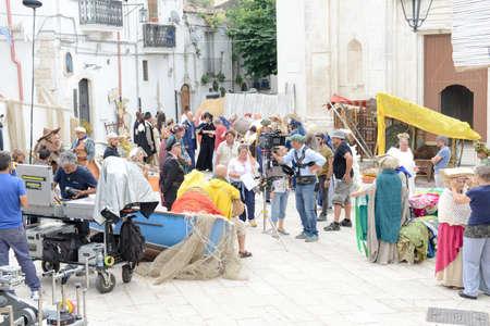 monte sant'angelo: Monte SantAngelo, Italy - 28 June 2016: people in a movie set at Monte SantAngelo on Puglia, Italy.