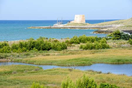 watchtower: Old watchtower near Vieste on Puglia, Italy
