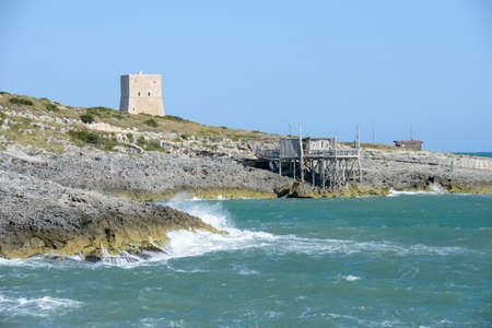 Old watchtower near Vieste on Puglia, Italy