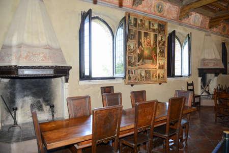 marche: Gradara, Italy - 2 July 2016: Lunchroom of Gradara castle on Marche, Italy. Editorial