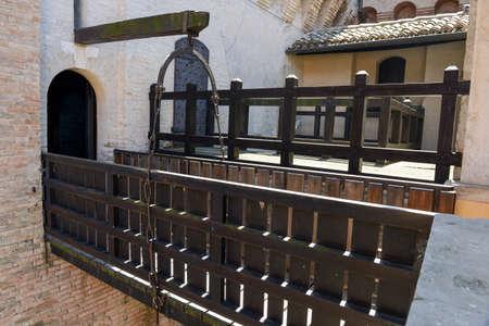 drawbridge: Drawbridge of Gradara castle on Marche, Italy