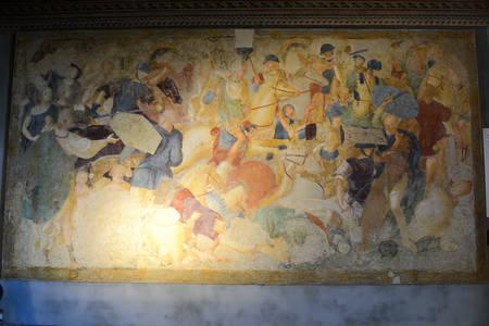 marche: Gradara, Italy - 2 July 2016: frescos of Gradara castle on Marche, Italy. Editorial