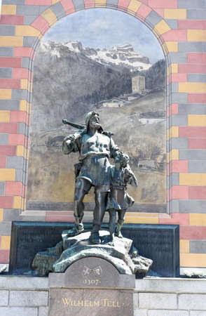 tell: Wilhelm Tell monument at the cantonal capital of Altdorf in the Canton of Uri, Switzerland