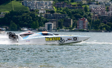 Lugano, Switzerland - 5 June 2016: XCat World Offshore speed boat championship on lake of Lugano on Switzerland