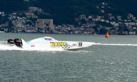 Lugano, Switzerland - 5 June 2016: XCat World Offshore speed boat championship on lake of Lugano on Switzerland