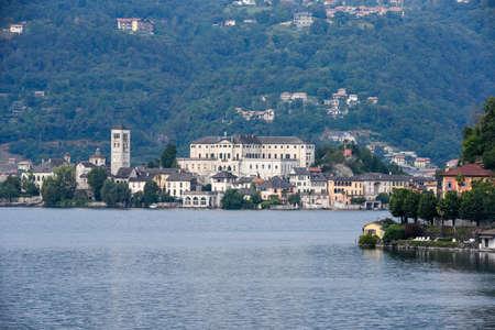 orta: View of the island of San Giulio in Lake Orta, Italy Stock Photo