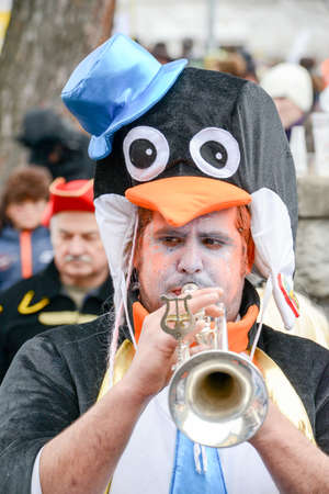 Tesserete, Switzerland - 13 February 2016: people playing music at the carnival of Tesserete on the italian part of Switzerland Editorial